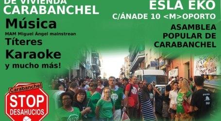 Fiesta de Vivienda Carabanchel. Apoyo a la CAJA de RESISTENCIA, Sábado 26, 17:00H