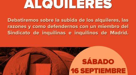 Charla-Debate: Subidas de los alquileres. 16 de Septiembre. Plza Oporto