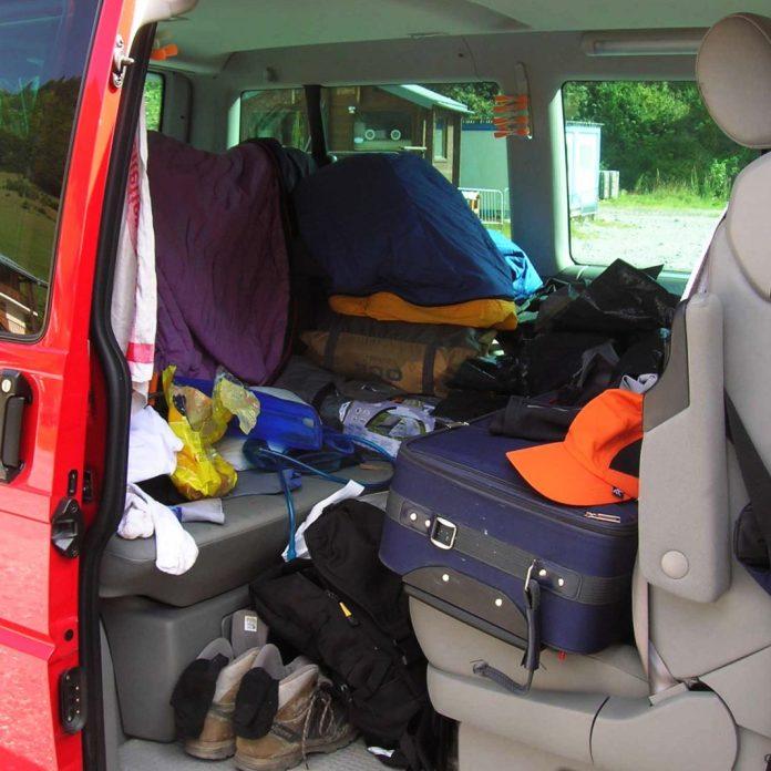 Platz für Unmengen an Gepäck im VW Bus T4 Multivan