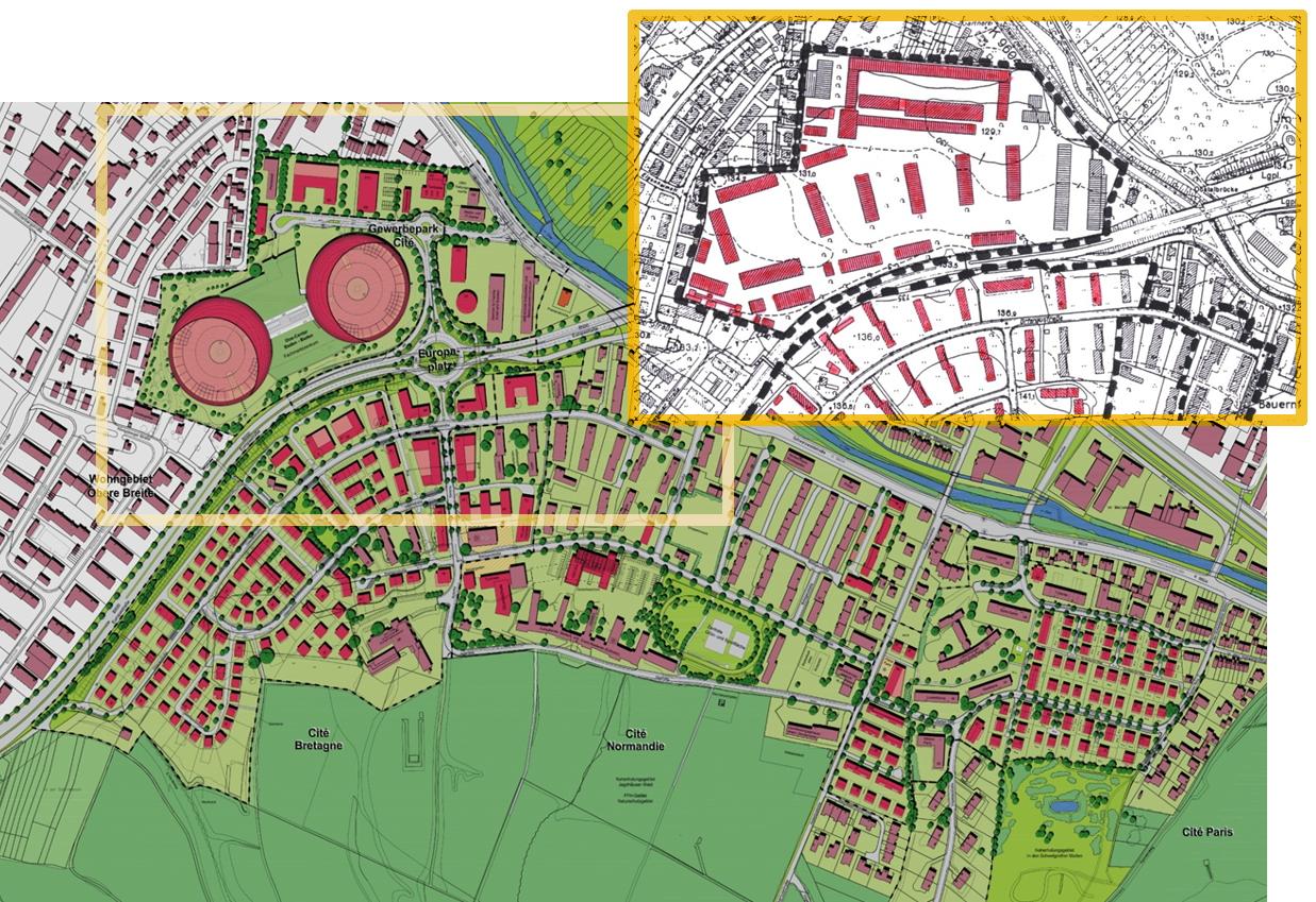再開発の概要を描いた地図 © Entwicklungsgesellschaft Cité mbH