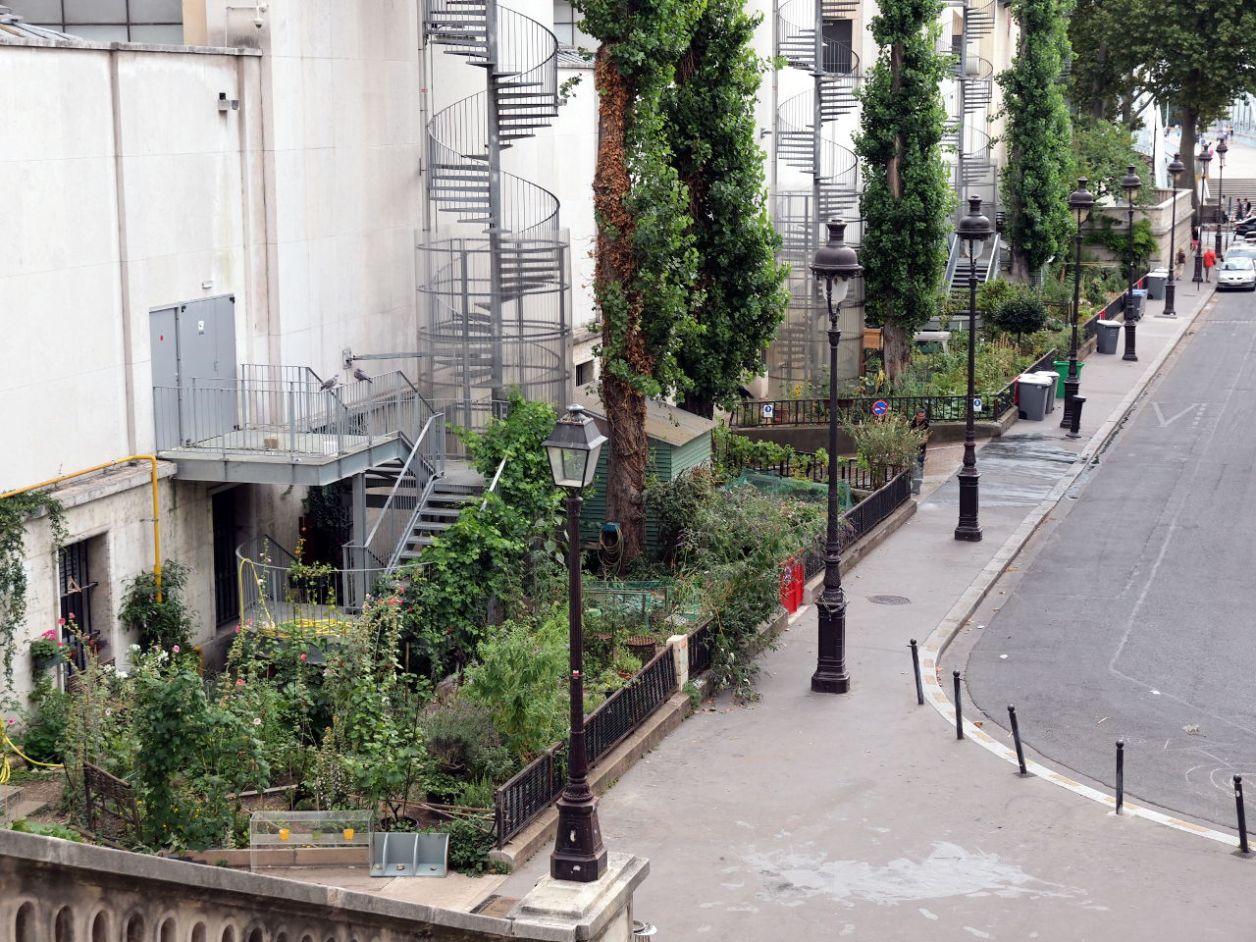 美術館の西側は資材搬入口、通用口、非常階段になっている。壁面沿いの細長い緑地が市民農園、パリ © Matsuda Masahiro