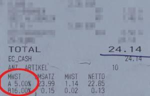 消費税特別減税後のスーパーのレシート、カールスルーエ、2020.07.03. © Matsuda Masahiro