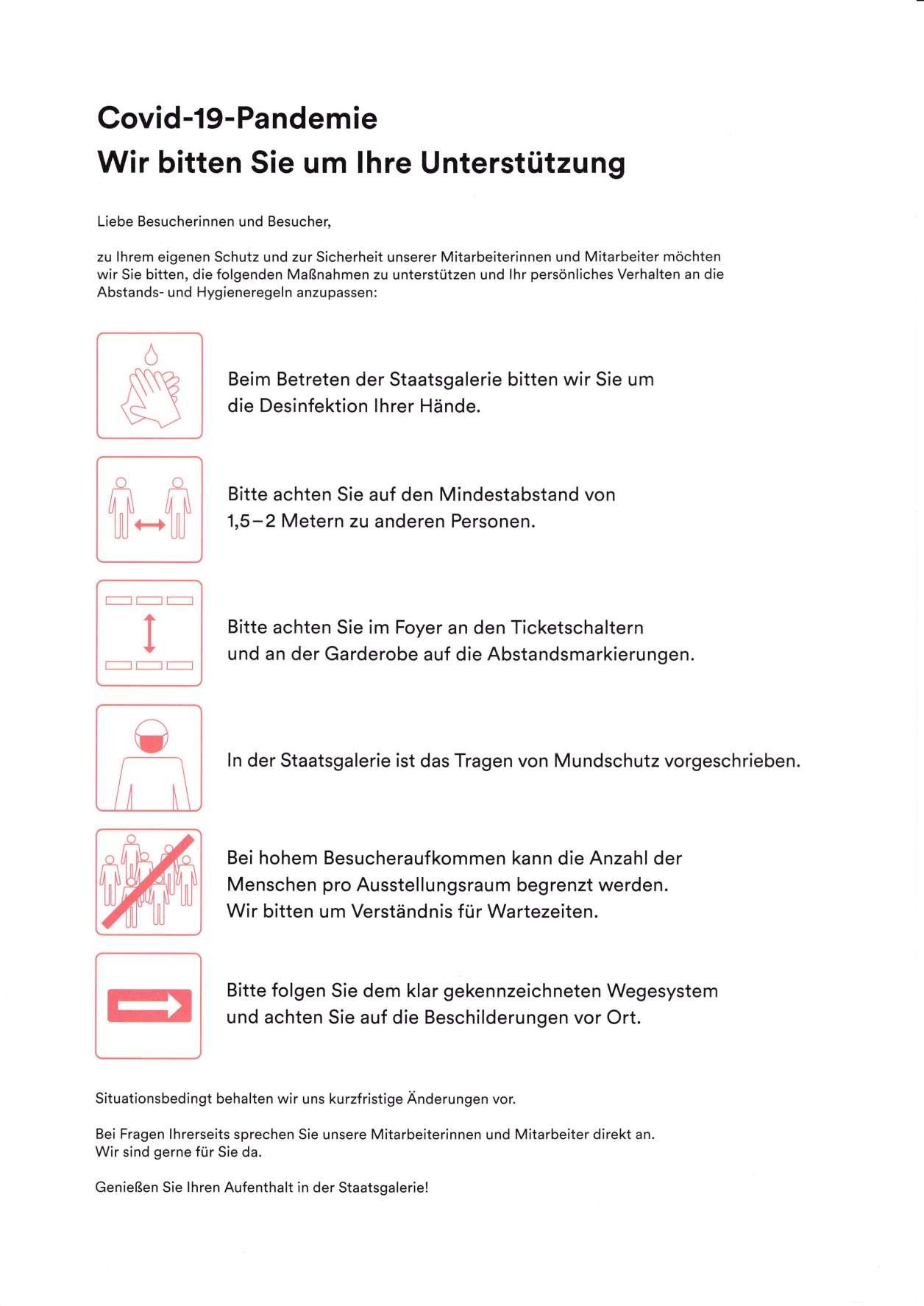 シュトゥットガルト国立美術館、館内地図の裏面、コロナ感染防止の注意書き ©Stuttgart Staatsgalerie