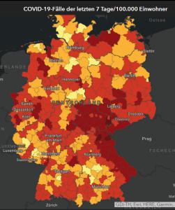 基準値(過去7日間の10万人あたりの新規感染者数)の全国地図、出所:ロベルト・コッホ研究のHP所