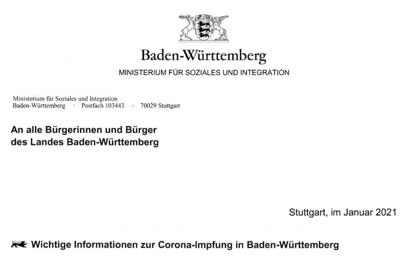 バーデン=ヴュルテンベルク州 社会・統合省から来た、新型コロナワクチン接種に関するお知らせ、カールスルーエ