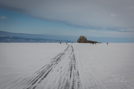 The frozen lake turned highway during winter