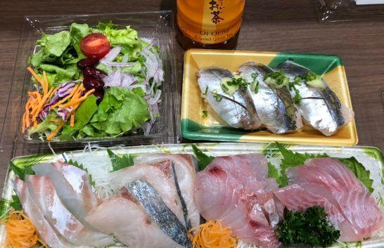 サラダ、刺し身、鮨