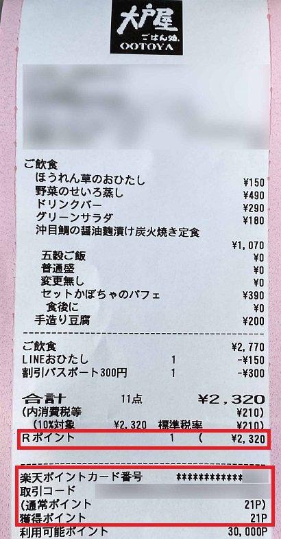 大戸屋のレシート(楽天ポイントカード利用)