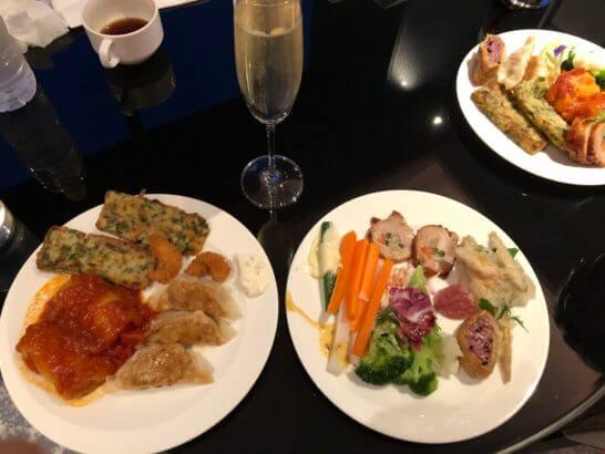 シェラトン都ホテル東京のクラブラウンジの夕食