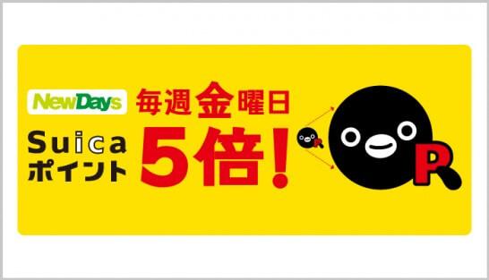 NewDays限定Suicaポイント5倍キャンペーン!
