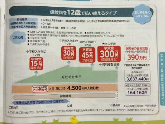 小・中・高+大学入学時の学資金準備コース(12歳払込プラン)