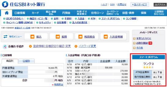 住信SBIネット銀行のランク表示画面
