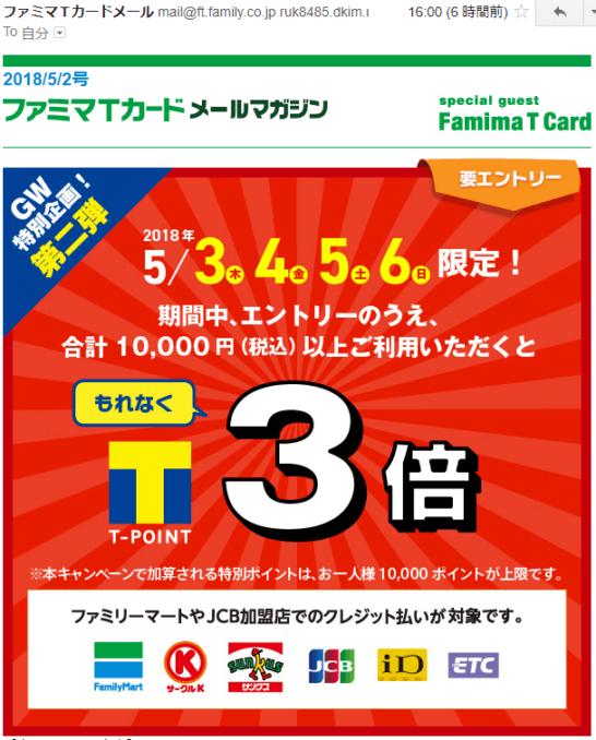 ファミマTカードのポイント3倍キャンペーン通知メール