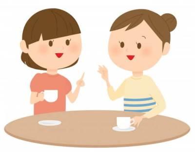 お茶をする女性のイラスト