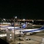 ANAの飛行機と夜の飛行場