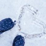 ハートマークの雪跡