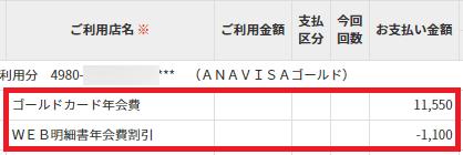 ANA VISA ワイドゴールドカードの年会費割引