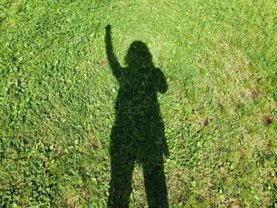 草むらとガッツポーズの人影
