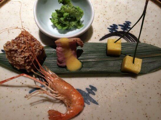 界 伊東の夕食の前菜