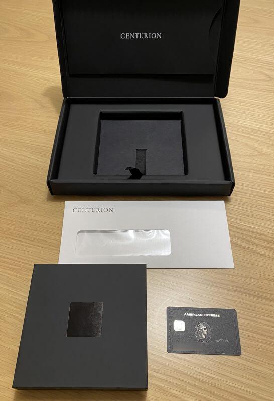 アメックスビジネスセンチュリオンの入会時の箱・資料