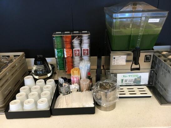 ANAラウンジ羽田の青汁・お茶類