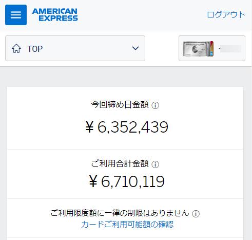 アメックスプラチナの合計利用金額(6,710,119円)