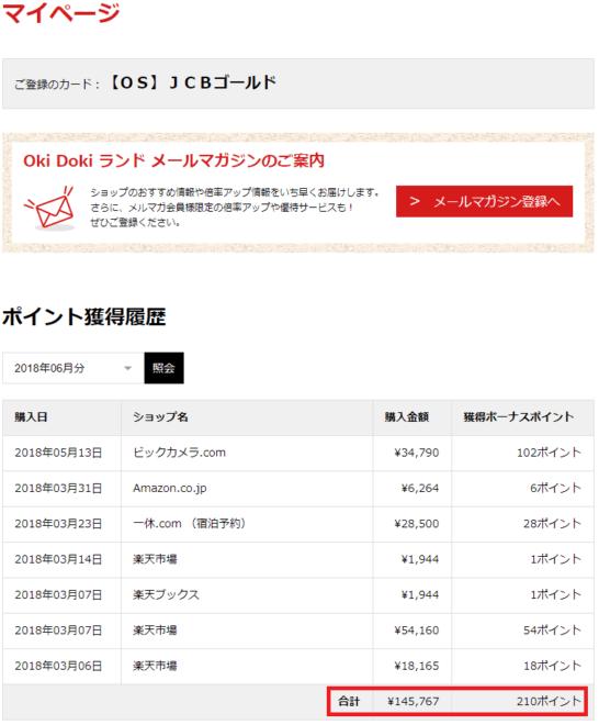 Oki Dokiランドのポイント獲得履歴画面