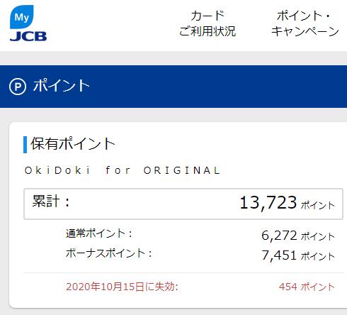JCBのOki Dokiポイント数