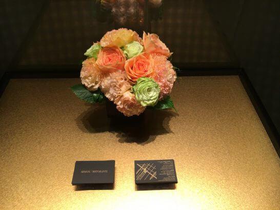 アルマーニリストランテのトイレ前のお花