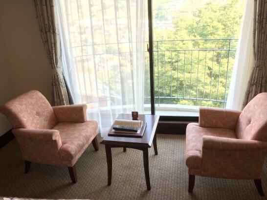勝沼ぶどうの丘の客室の窓