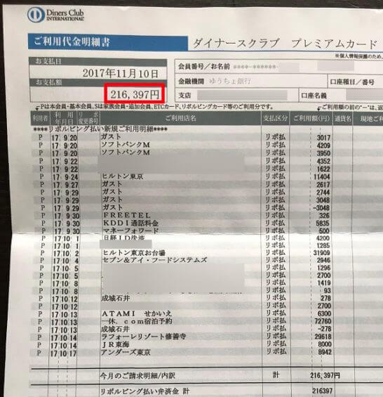 ダイナース プレミアムの利用代金明細書 (1)