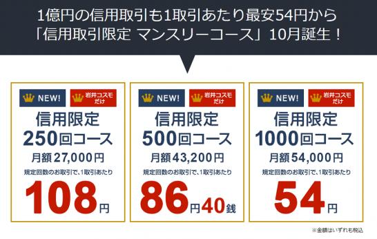 岩井コスモ証券の信用取引限定マンスリーコース