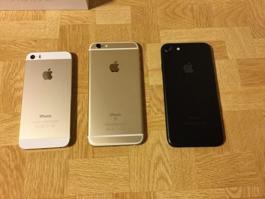 iPhone 5sと6sとiPhone7(裏面)