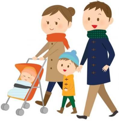 散歩する家族のイラスト