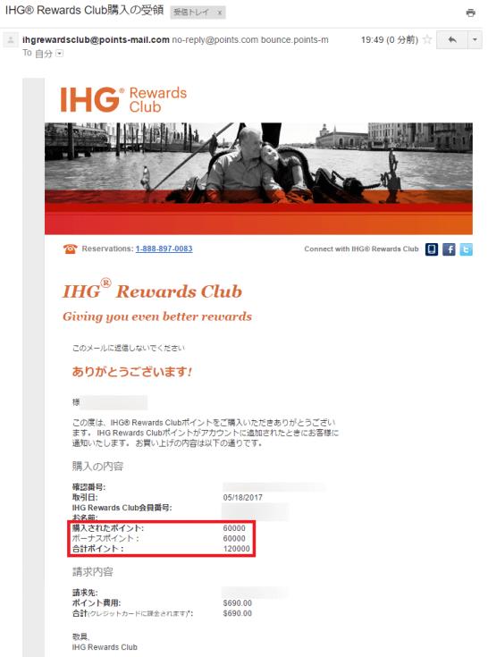 IHGリワードクラブのポイント購入完了画面(100%ボーナスキャンペーン)