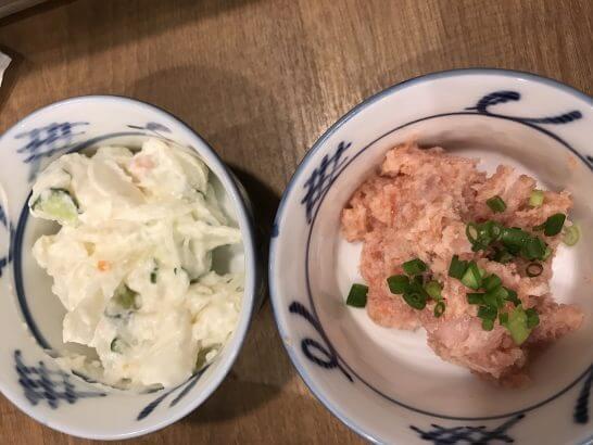 磯丸水産のポテトサラダとネギトロ