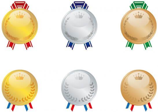 2種類の金メダル・銀メダル・銅メダルのイラスト