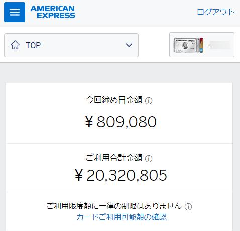 アメックスビジネスプラチナの合計利用金額(20,320,805円)