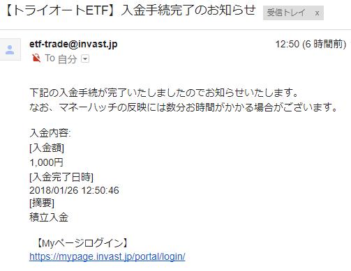 インヴァストカードの入会キャンペーンの入金通知メール