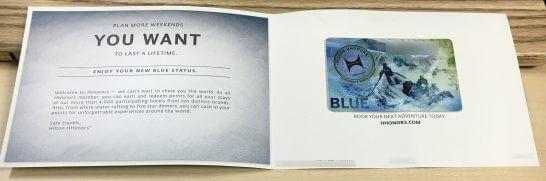 ヒルトンオナーズの会員証(BLUE)