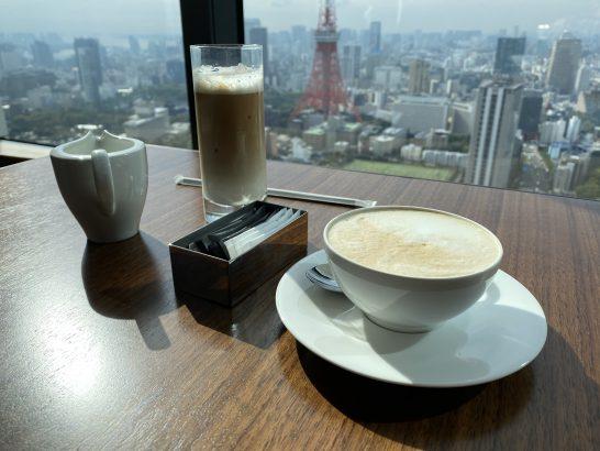 東京エディション虎ノ門の朝食のカプチーノとアイスカフェラテ