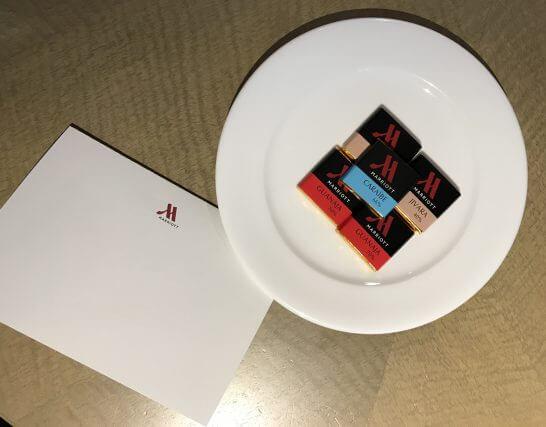 東京マリオットホテルのウェルカムチョコ