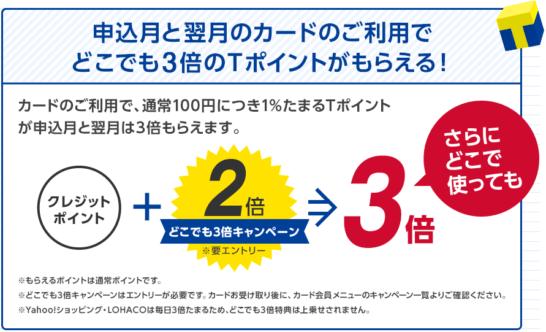 ヤフーカードの入会キャンペーン(ポイント3倍)