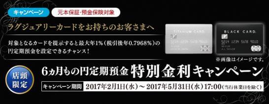 新生銀行の定期預金キャンペーン(ラグジュアリーカード保有者限定)