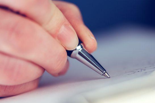 ボールペンでのサイン