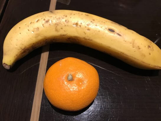 東京マリオットのエグゼクティブラウンジのバナナとみかん