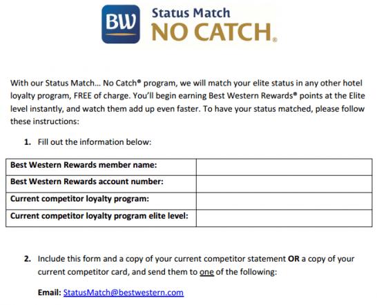 ベストウェスタンホテルのステータスマッチ申請