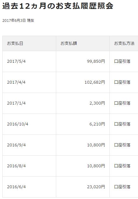 エポスゴールドカードの過去12ヵ月のお支払履歴照会