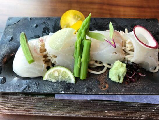 白身魚のそばカルパッチョ