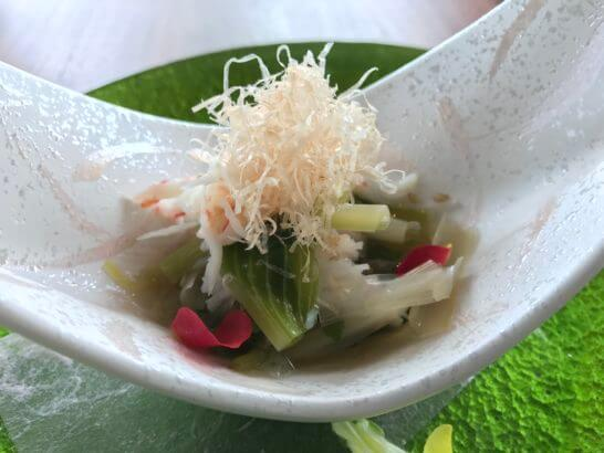 ズワイ蟹と青菜のお浸し
